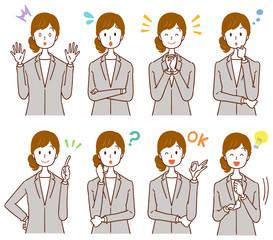 Business woman has various facial expressions