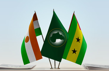 Flags of Niger African Union and Sao Tome and Principe