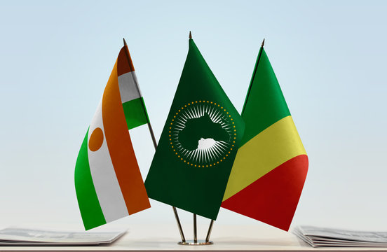 Flags of Niger African Union and Republic of the Congo
