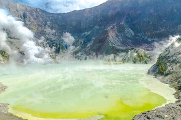 Wall Murals New Zealand Active Volcano at White Island New Zealand. Volcanic Sulfur Crater Lake