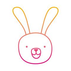 degraded line cartoon rabbit male head animal