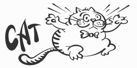 Cute cat, drawing. Doodle cartoon style. Cartoon black icon on white backdrop. Animal print. Fat cat for your design. Vector