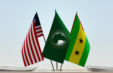 Flags of Liberia African Union and Sao Tome and Principe