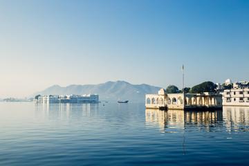 Mohan Temple and Taj Lake Palace at Pichola lake in Udaipur, India