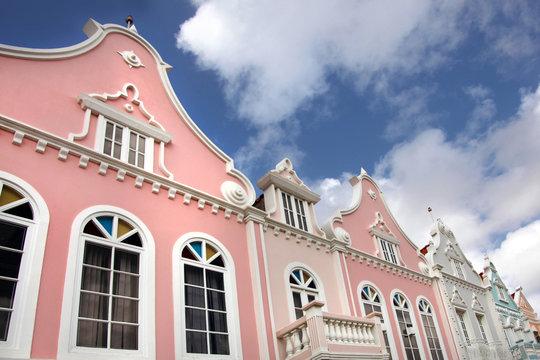 Typical pastel painted architechture of Aruba, Curacao & Bonaire, Caribbean.