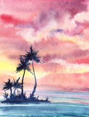 A sunset or dawn tropical landscape with a small island with palm trees against a turquoise sea and a pink sky with cumulus clouds. Hand drawn real watercolor illustration