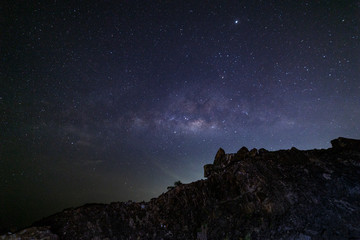 Long exposure Night Photography with Milky way in phuket thailand.