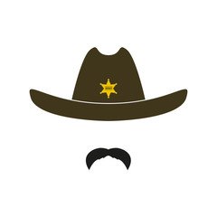 Sheriff face icon isolated on white background. Retro hat with star and mustache. Vector illustration.
