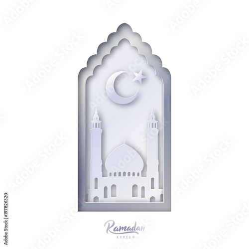 islamic decorative design template mosque with crescent moon and