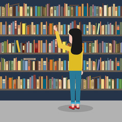 The girl reaches for the book in the background of the bookshelves.