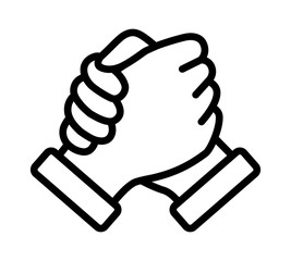 Soul brother handshake, thumb clasp handshake or homie handshake line art vector icon for apps and websites