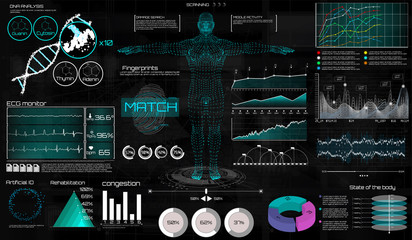A modern medical interface for monitoring human scanning and analysis, HUD style. Medical infographic HUD. virtual graphic touch UI with illustration of Heart Scan, Human Body and Electrocardiogram.