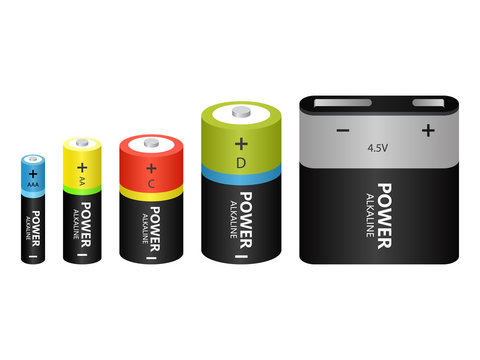 Battery Alkaline different models Icons Vector Alkaline Batteries Of Diffrent size Isometric Set