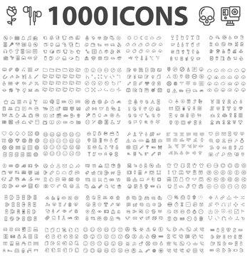 Set 1000 ICONS Different theme Editable Stroke 48x48 Pixel Perfect Big SET Premium Vector