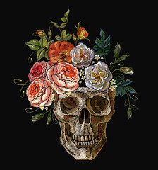 Gothic romanntic embroidery clown human skulls red roses and pink peonies, clothes template and t-shirt design vector art. Embroidery clown skull and red roses. Dia de muertos, day of the death art