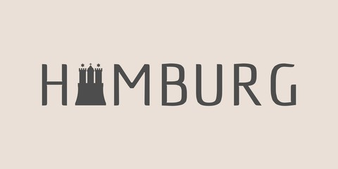 Travel template. Hamburg city name text and element from coat of arms
