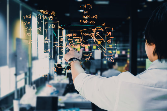 Young businessman standing in front of glass wall thinking and planning concept of work, finger of a hand pointing to new ideas on board, Business Meeting and Planning Concept