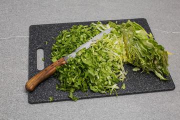 blade handle knife sliced old granite board