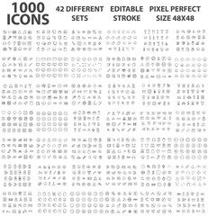 Set 1000 ICONS Different theme Editable Stroke 48x48 Pixel Perfect Big SET Premium Vector