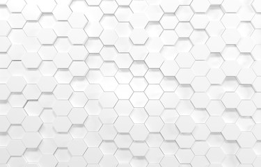 White hexagon 3D background texture. 3d rendering illustration. Futuristic abstract banner.