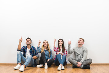 The four people gesture on the white background