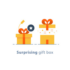 Prize give away, surprising gift, creative present, fun experience, gift idea concept, flat icon