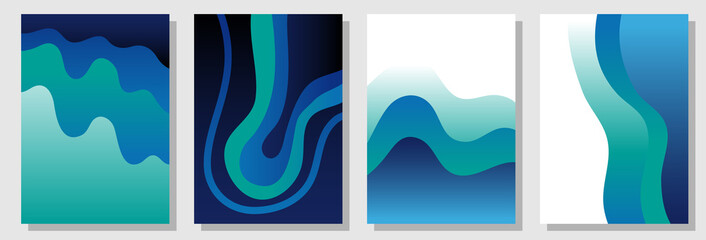 Set of colorful A4 covers with fluid shapes. Template for books, cards, banners, posters.