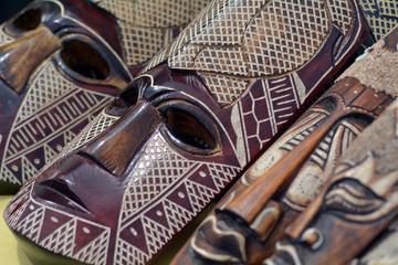 Wooden face masks wood curving Rarotonga Cook Islands