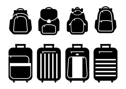 Set of suitcases silhouettes and backpack iconsSchool backpacks. Travel suitcases on wheels. Vector illustration.