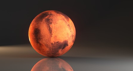 3D Rendering Of  High Detailed Mars Planet On Dark Studio With Reflective Surface The Elements Of This Image Furnished By   NASA