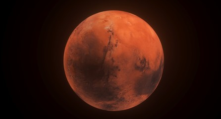 3D Rendering Of  High Detailed Mars Planet The Elements Of This Image Furnished By NASA