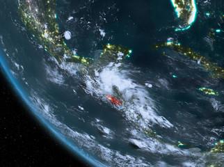 Night view of El Salvador on Earth