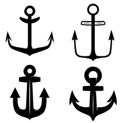 Set of icons of the anchor isolated on white background. Design element for logo, label, emblem, sign.