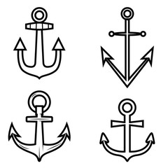 Set of anchor icons. Design element for logo, label ,emblem, sign.
