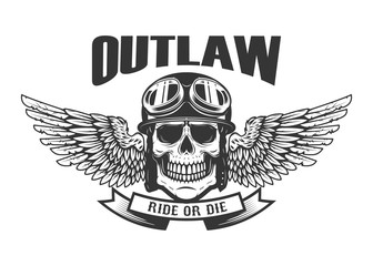 Outlaw. Ghetto warrior. Skull with wings and brass knuckles. Design element for logo, label, emblem, sign, badge.