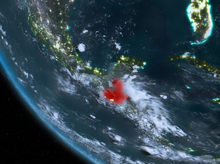 Night view of Guatemala on Earth
