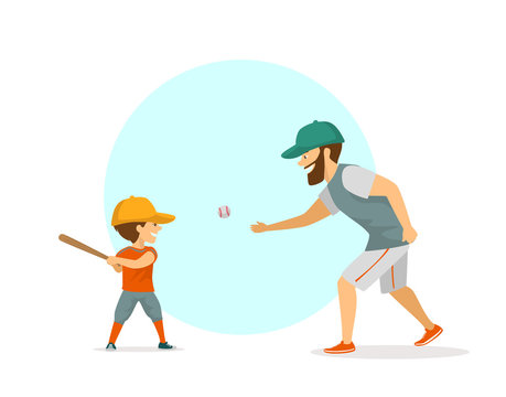 father and son, boy and man playing baseball scene vector illustration