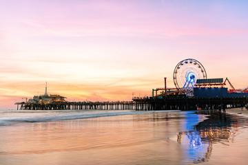 The Santa Monica Pier at sunset, Los Angeles, California. Wall mural