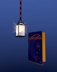 Grußkarte mit Halbmond in dunkelblau-gelb und einer leuchtenden Lampe mit blauem Hintergrund. 3d Render