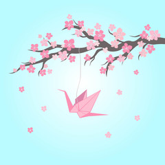 Cherry blossom with origami on blue background. Vector Illustration.