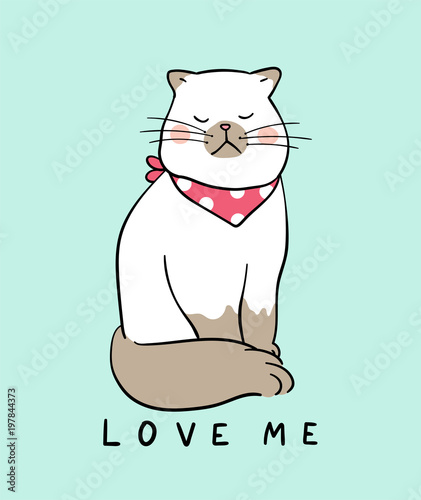 Cute Vector Illustration Draw Character Design Of Cat And Word Love