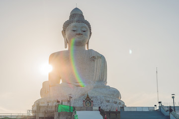 Big Buddha statue Was built on a high hilltop of Phuket Thailand Can be seen from a distance