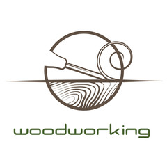 """an illustration consisting of an image of a chisel plowing a tree and the inscription """"woodworking"""""""