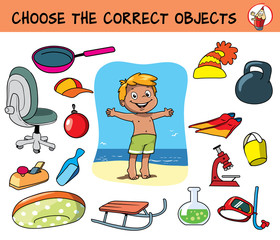 Choose the correct objects for beach holidays. Educational matching game for children. Cartoon vector illustration