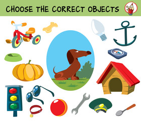 Choose the correct objects for dog. Educational matching game for children. Cartoon vector illustration