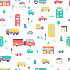 Seamless pattern with hand drawn city print. Cartoon skyscraper, cars, trees, traffic light. Vector illustration. Perfect for kids fabric, textile, nursery wallpaper.