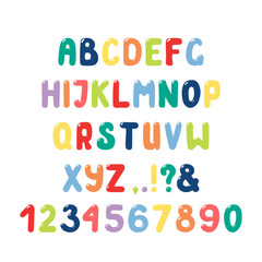 Hand drawn cute and bright roman alphabet with numbers, punctuation marks. Make your own festive lettering. Isolated letters on white background. Vector illustration.