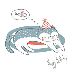 Hand drawn Happy Birthday greeting card with cute funny cartoon cat sleeping on a rug, dreaming of fish, text. Isolated objects on white background. Vector illustration. Design concept for kids.