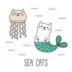 Printed kitchen splashbacks Illustrations Hand drawn vector illustration of a kawaii funny cat mermaid, jellyfish, swimming in the sea. Isolated objects on white background. Line drawing. Design concept for children print.
