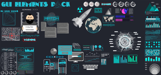 GUI. Set of different items for game user interface. Flat interface in the style of a cartoon HUD, infographic, technology elements, dashboard, business, 3d rocket and much more. gui, ui, kit, hud.